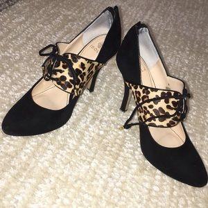 Suede and calf hair heels